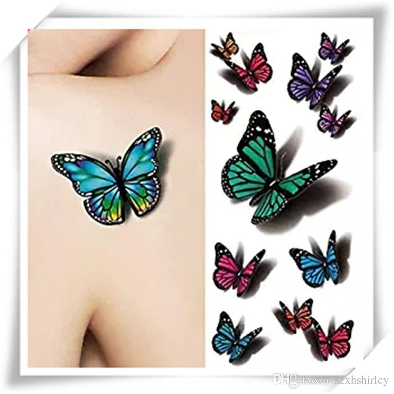 dd3c11c4ee546 3D Sexy Multicolor Butterfly Tattoo Decals Body Art Decal Flying Butterfly  Waterproof Paper Temporary Tattoo Sticker 1 Sheets Realistic Fake Tattoo ...