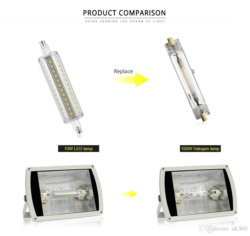 Regulable R7S Bombilla 220V 5W 10W 118mm 79mm 135mm 12W 15W 189mm Bombillas llevó la lámpara SMD2835 llevó la luz del césped de la lámpara del reflector Reemplazar halógena