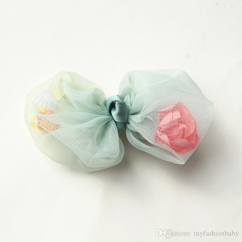 2018 New Gauze Bows With Floral Inside Baby Hair Children Flower Hair Barrette Princess Shapes Hair Clips Pink Flower Hairpins