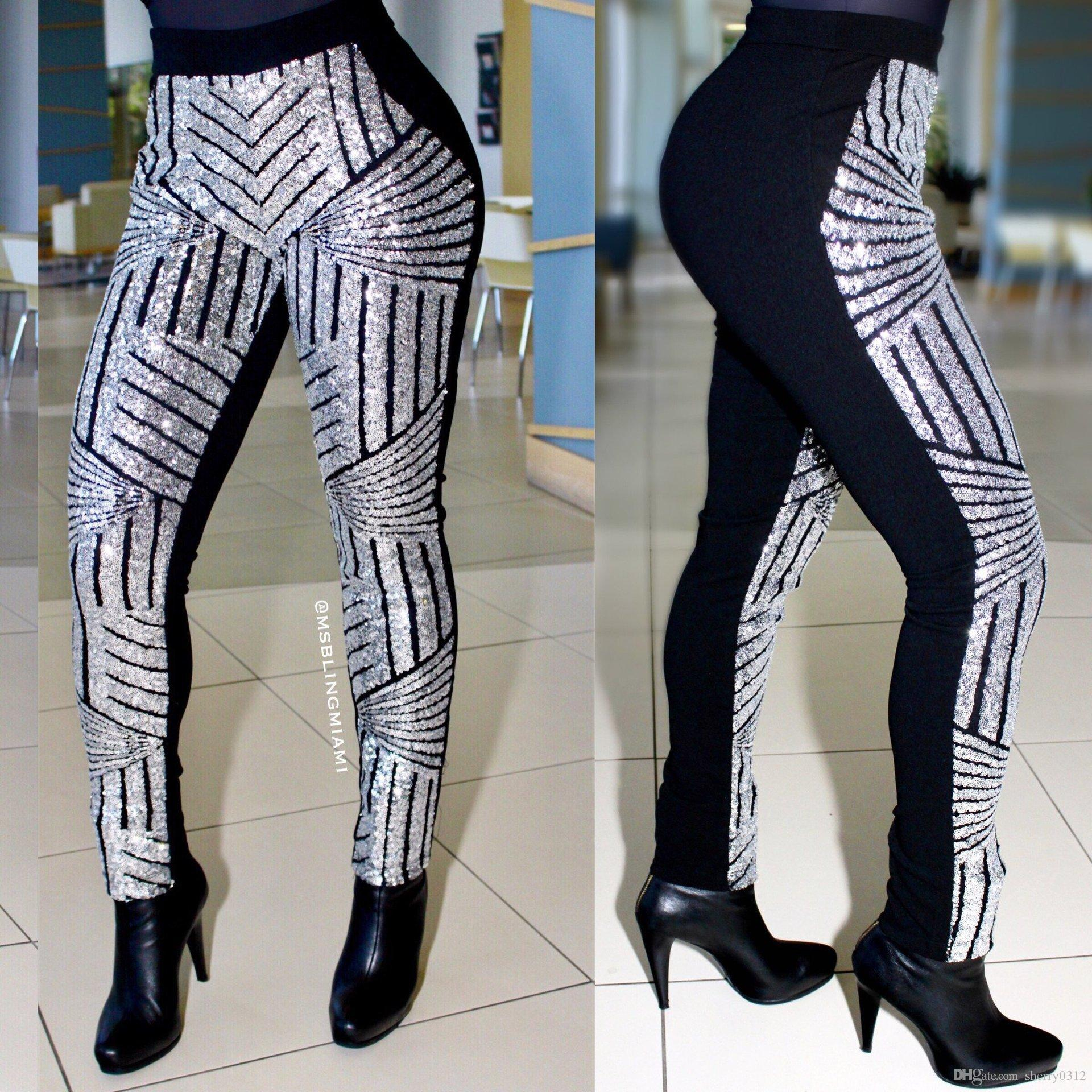 2018 2017 Plus Size Womens Pants Fashion Bling Sequin Geometric