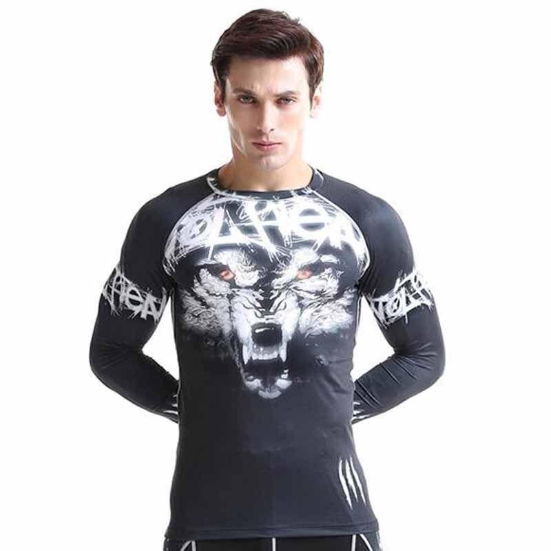 Men T-shirt Mens Compression Tight Skin Shirts Weight Lifting Basic Layer Running Training Body Building Fitness