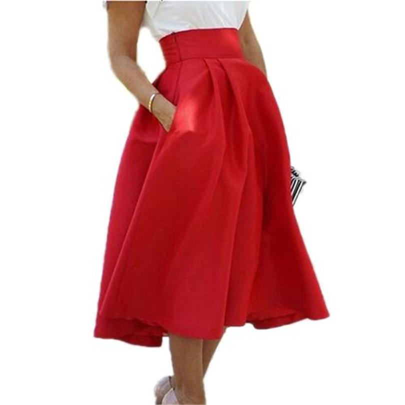 2017 Fashion Red Pleated Long Skirt Elegant High Waist Skirts 2017 ...