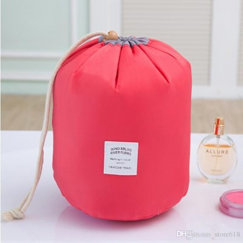 Bolsas de Cosméticos calientes de gran capacidad elegante Barril en forma de Organizador de Lavado de Nylon Bolsa de Viaje de Viaje Bolsa de Maquillaje Cosmético Para Las Mujeres