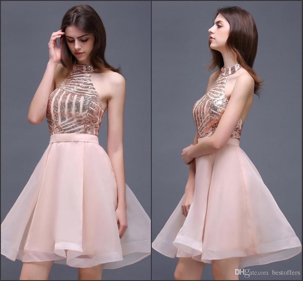 Sexy Short Sparkling Sequins Homecoming Dresses 2018 Halter Neck A ...