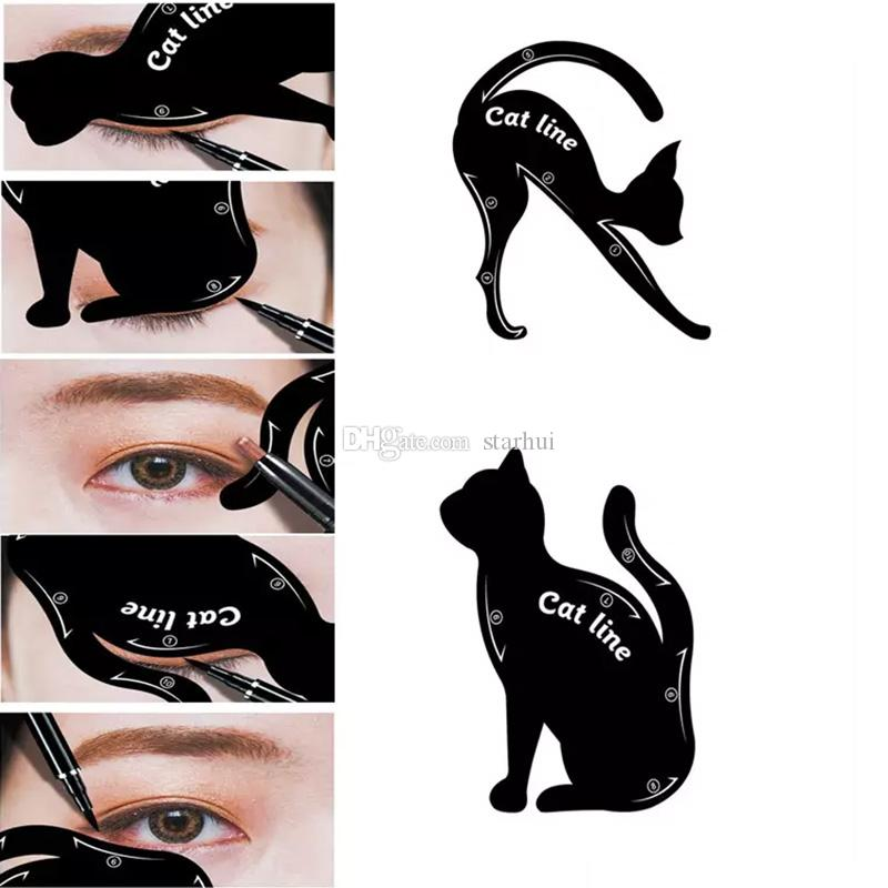 New 2 In 1 Cat Eyeliner Stencil Eye Cat Template Card Makeup Card ...