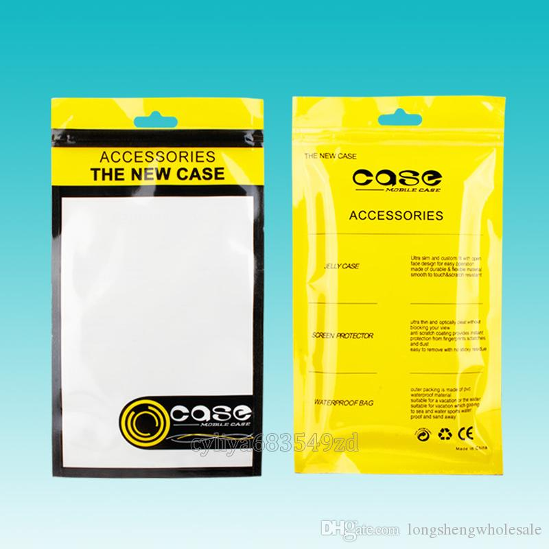 12*21.5cm White/yellow Self Seal Resealable Zipper retail bag for smartphone android mobile phone leather case cover