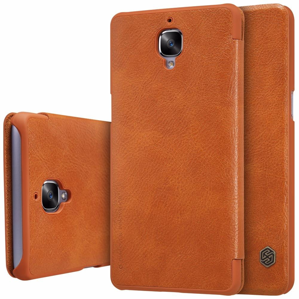 new style 0cd7c ae329 Wholesale- Oneplus 3T Case Nillkin Qin Genuine Real Nature Leather Flip  Cover Case For One plus 3 A3000 With Sleep Function Retail Package