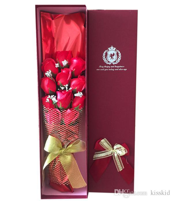 Geschenk-Valentinsgruß-Hochzeits-Seifen-Blumen-Mutter-TagesRosenblumenblatt-Geburtstagspapier-Seife Rose in 1 Kasten wählen Farbe