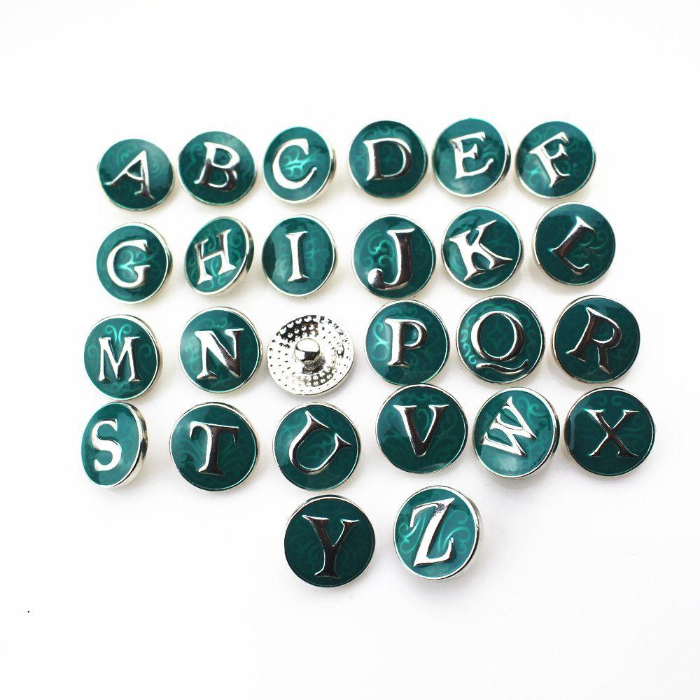 Vente chaude / Noir Alphabet A-Z Lettres Snap Boutons Pour 18mm Snap Collier BraceletBangles DIY Snap Bijoux Pendentif Charmes