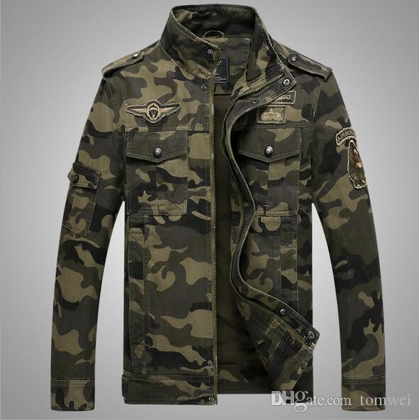 274a92f3b8b Military Style Jackets For Men Slim Fit Jackets Spring Coats Autumn  Overcoat Camouflage Tops Good Quality Plus Size Army Green Mans Coats Cream  Leather ...