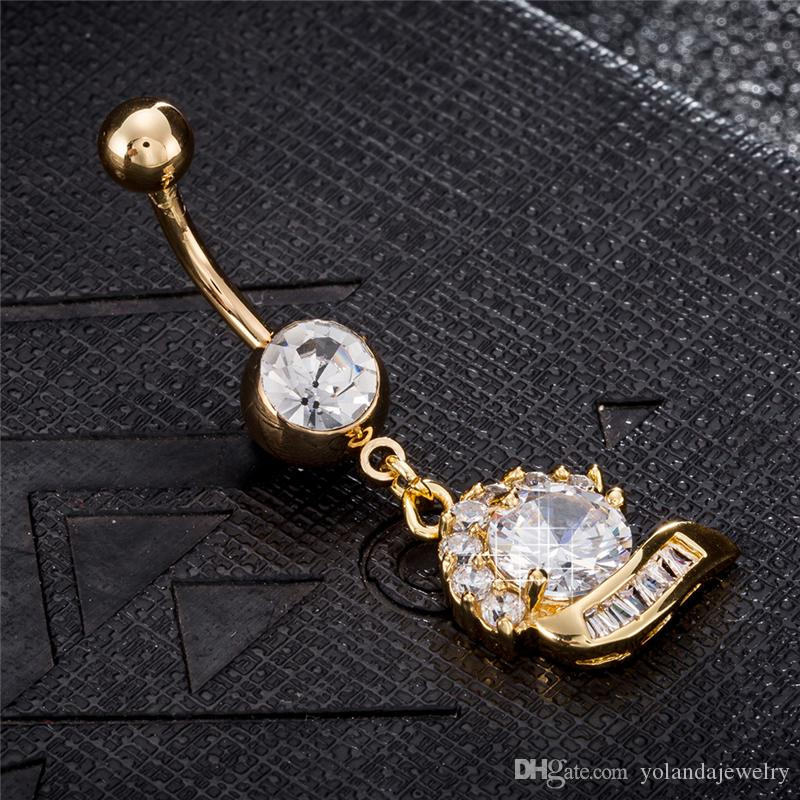 18k Real Yellow Gold Plated Top Quality Clear Cubic Zircon Flower Body Piercing Belly Ring for Girls Women