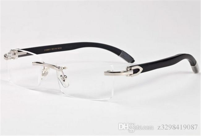 Marken-Männer-Gläser randlose weiße hölzerne Bambusbeine Buffalo-Horn-Sonnenbrille occhiali lunettes de soleil de marque