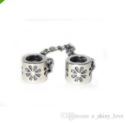 Silver Flowers Safety Chain Charm Bead Floral stamped For Charm Bracelet Beads for Jewelry Making Low Price