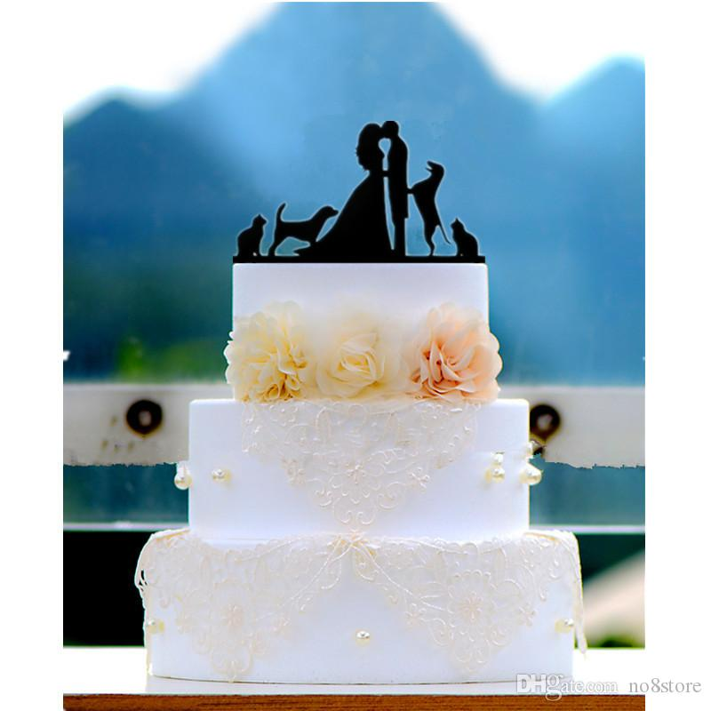 Black Acrylic Bride And Groom Silhouette Wedding Cake Topper With 2 Cats Dogs Decoration Diy Supplies From No8store