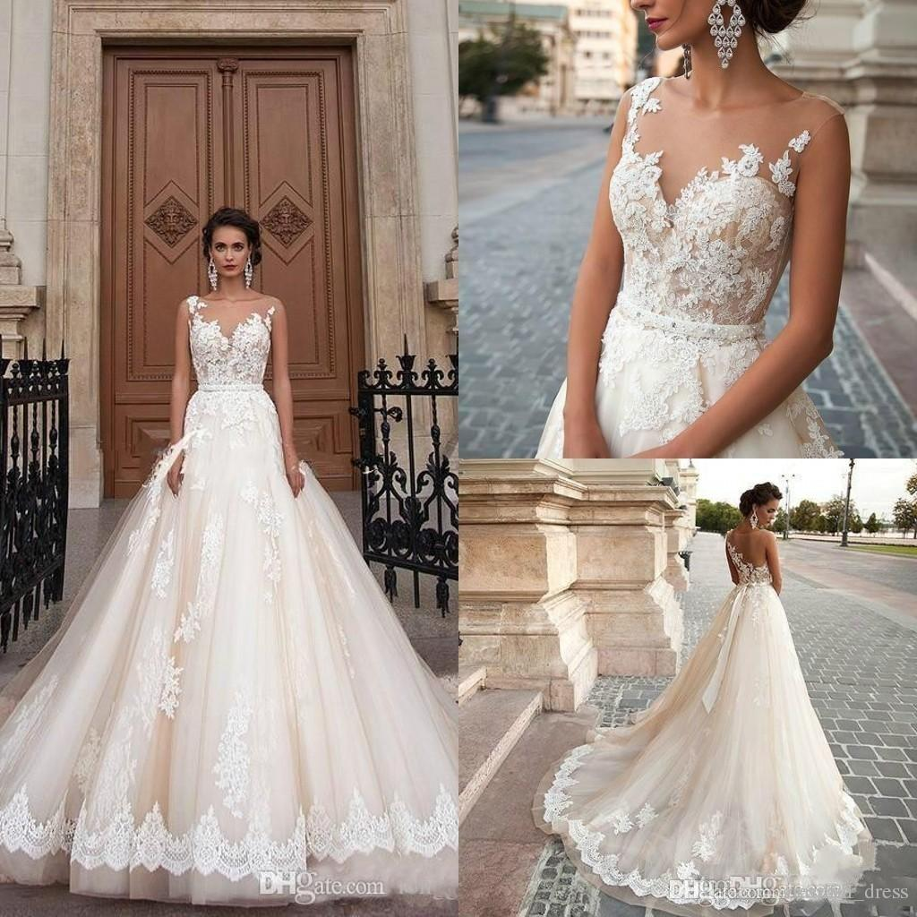 Great Discount 2017 New Sexy Milla Nova Sheer Castle Wedding Dresses Ball  Illusion Back Appliques Lace Chapel Train Bridal Gown For Western Style  Simple Lace ...