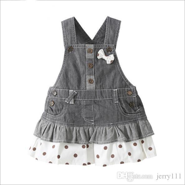 11261b2fc Venta al por mayor Falda de jeans para niñas Falda de mezclilla para niñas  1-4 años Vestidos para niños Faldas de tirantes Ropa para bebés Ropa ...