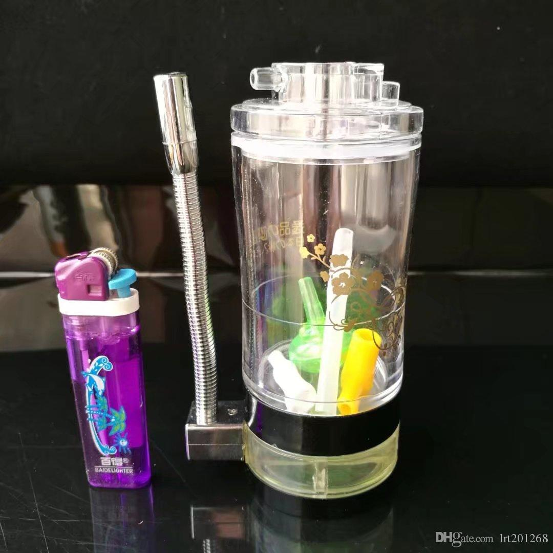 High quality acrylic with alcohol lamp  , New Unique Glass Bongs Glass Pipes Water Pipes Hookah Oil Rigs Smoking with Droppe