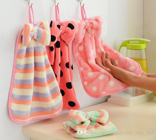 سوبر لينة المرجانية منشفة المخملية المطبخ المعلقة منشفة ماصة خالية من الوبر منشفة قماش منشفة المطبخ.