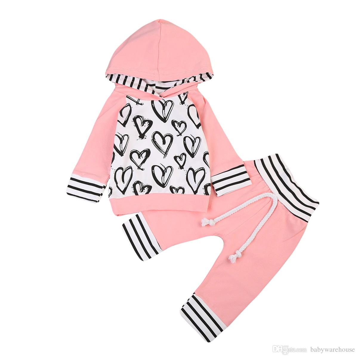 Newborn Baby Girl Clothes Heart Pattern Hoodie Tops T-shirt + Pants 2pcs Cotton Girls Suit Infant Toddler Kids Outfits Girls Clothing Set