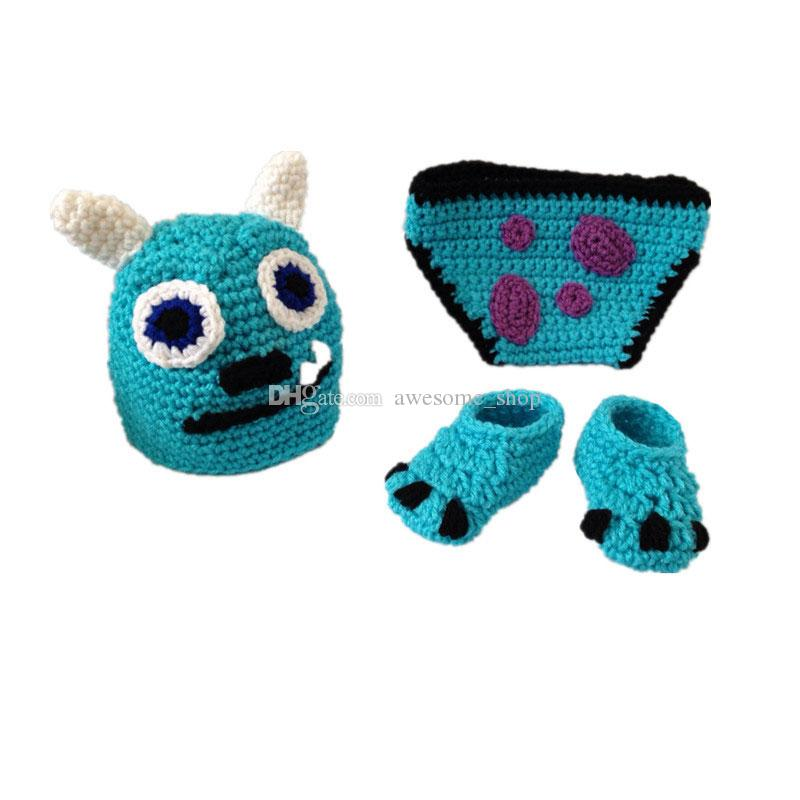 Großhandel Häkeln Sully Monster Outfit, Handgemachte Stricken Baby ...