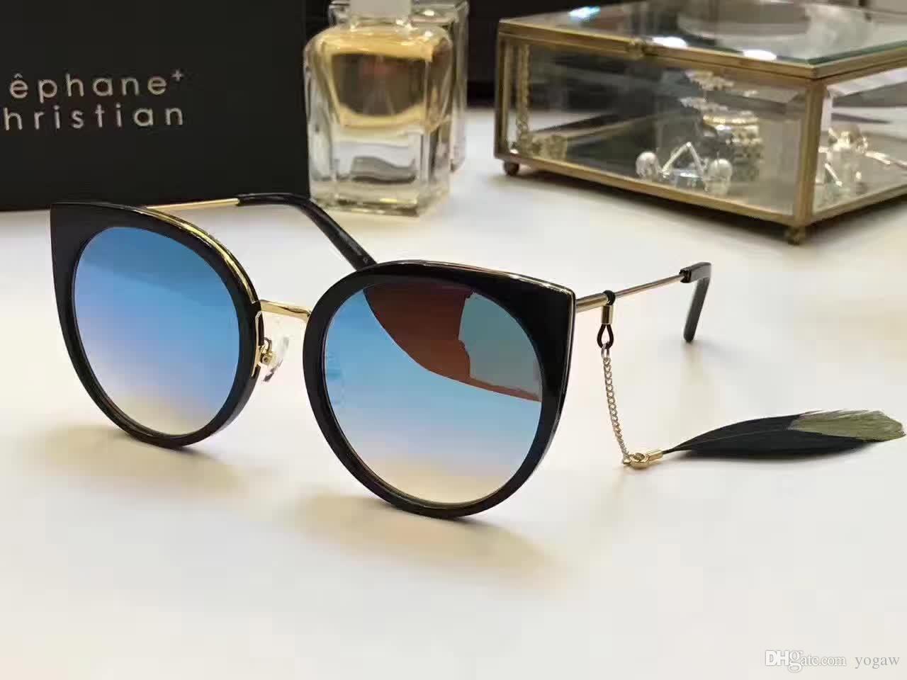 4ca86c9177a9 Stephane Christian Cat Eye Sunglasses Gold Black Blue Len Fashion Eyewear  Designer Brand Sunglasses 2017 Summer New With Box Designer Glasses  Sunglasses Uk ...