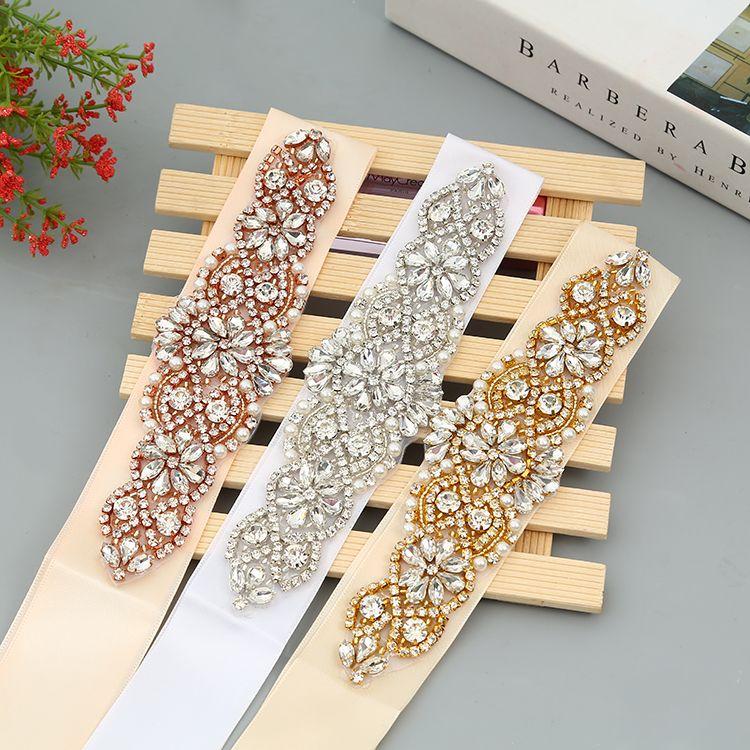 Handmade Gold Rhinestones Appliques Wedding Belt Clear Crystal Sewing on Bridal Sashes Wedding Dresses Sashes Bridal Accessories T43