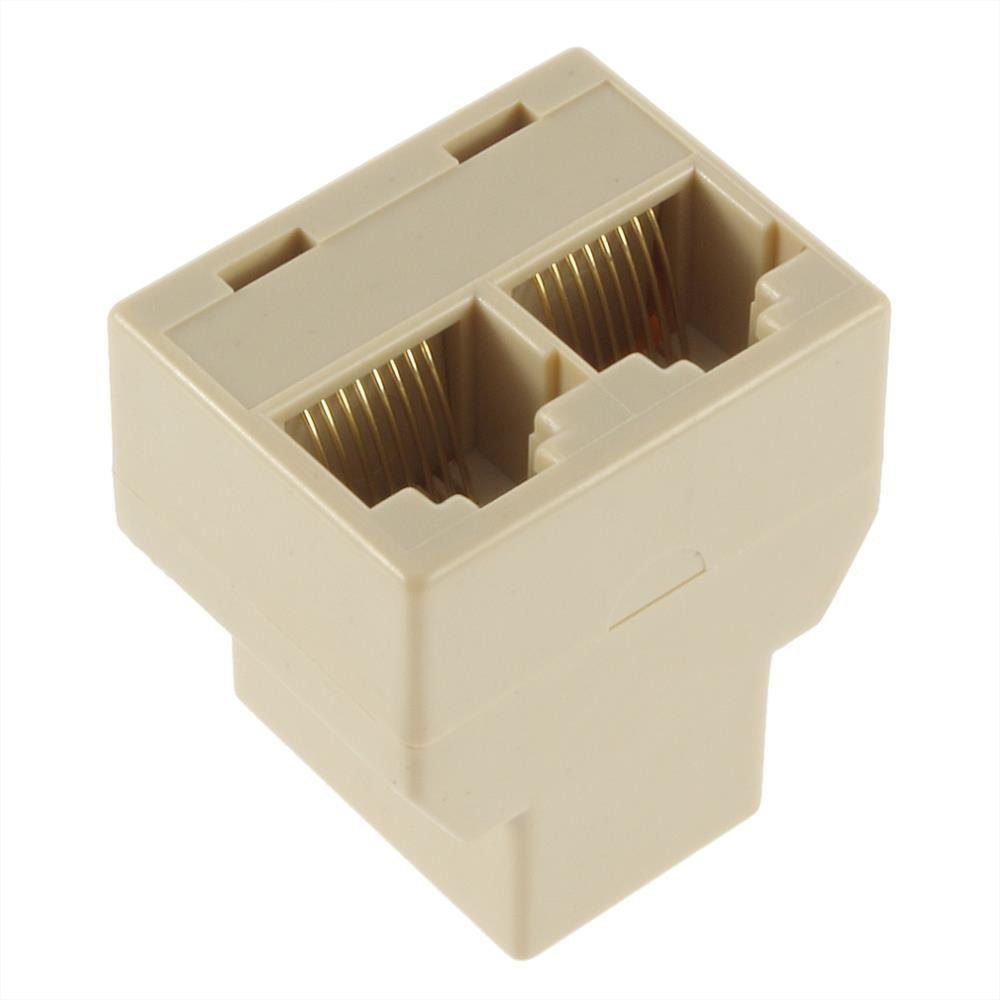 Divisor de cable de red RJ45 8P8C beige 1 hembra a 2 acopladores de conector hembra F / F Ethernet Adaptador de enchufe de cable modular CAT5