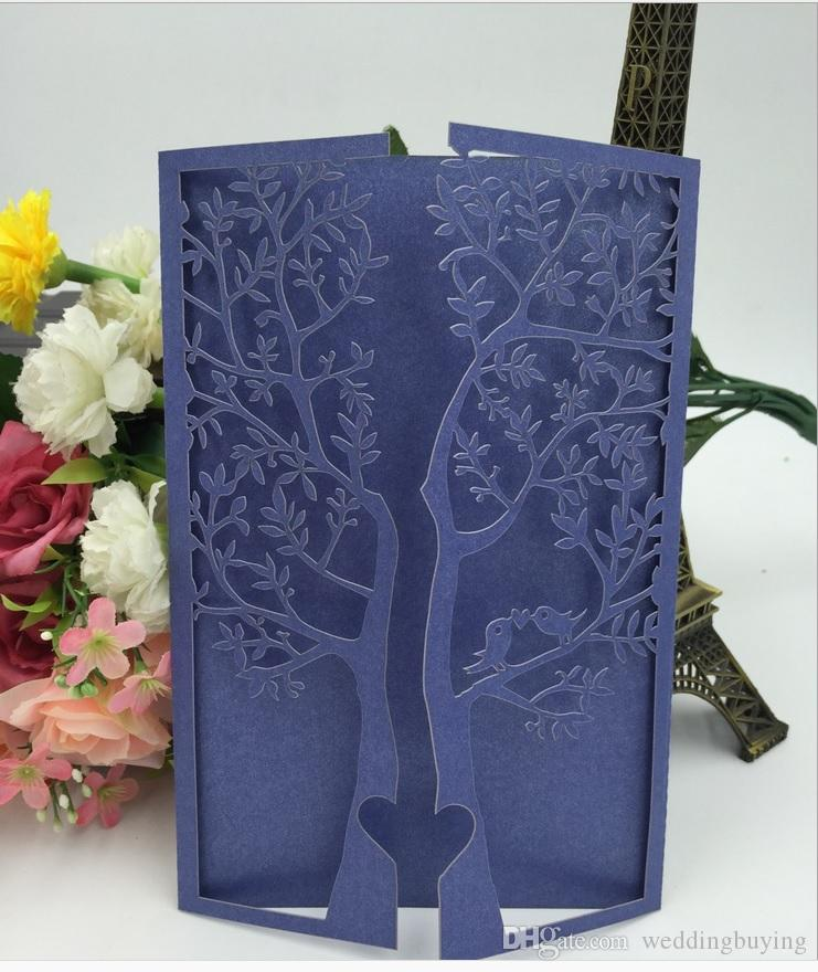 Hollow wedding invitation cards personalizedl blue laser cut invitation cards with envelope inserts via DHL free shipping new designs