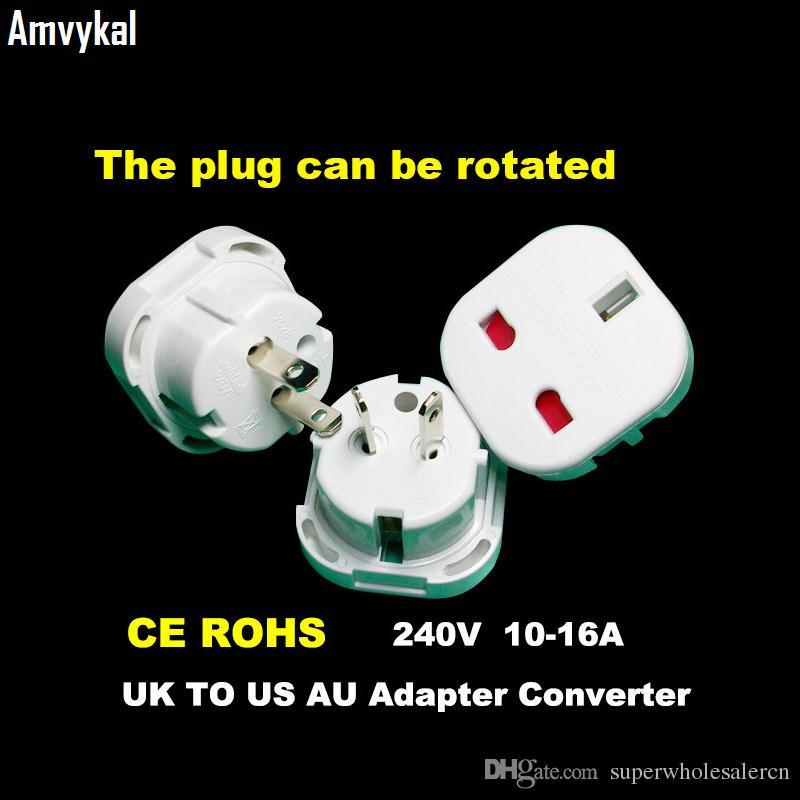 Amvykal de calidad superior del adaptador de enchufe eléctrico del zócalo de viajes convertidor 9628 Interruptor Reino Unido Para estadounidense AU tapón de seguridad del adaptador de enchufe universal