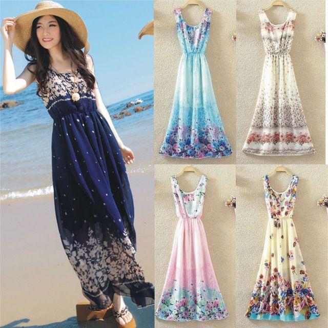 9f40d4f119164 Bohemian Casual Women Summer Maxi Dresses Sleeveless Floral Print Chiffon A  Line Long Beach Dress Vestido De Praia Teenage Dresses For Sale Long Sleeve  ...
