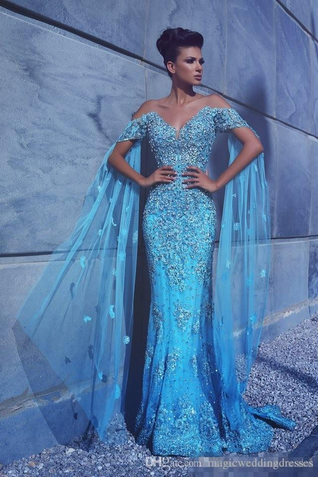 2017 New Arrival Sky Blue Mermaid Prom Dresses Off Shoulder Lace Beaded Plus Size Arabic Formal Evening Occasion Gowns Pageant Event Wears