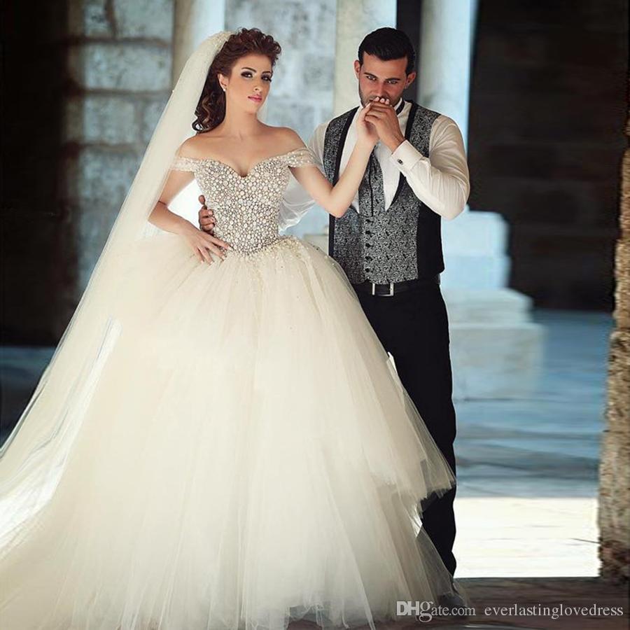 60c1da3a Saidmhamad Off The Shoulder Bling Bling Ball Gowns Petal Beading Wedding Dress  Two Layered Tulle Bridal Dress One Shoulder Ball Gown Wedding Dress Pink  Ball ...