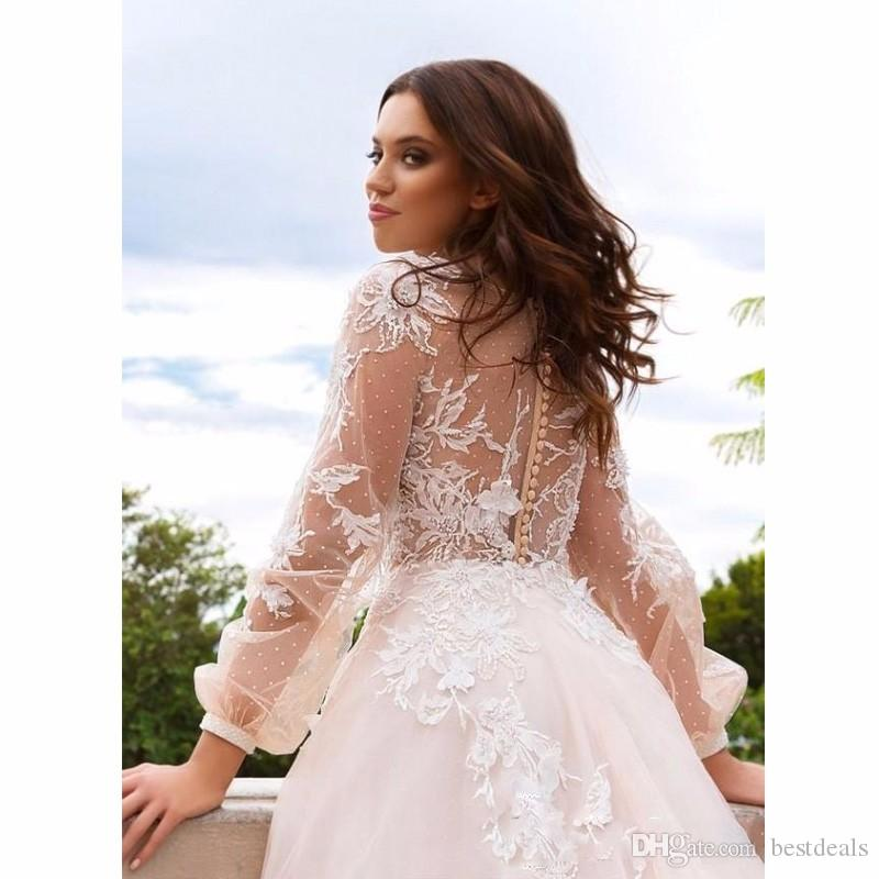 Lace Floral Vintage Beach Wedding Dresses 2020 Deep V-neck Long Sleeves Beaded Bridal Dresses A-line Sexy Wedding Gowns