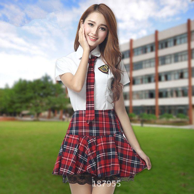b80a9c8313 Compre Uniforme Escolar Japonés Para Mujeres Estudiantes Niñas Uniforme  Coreano Desgaste Escolar Camisa Blanca Verano + Falda De Encaje A Cuadros  Ropa A ...