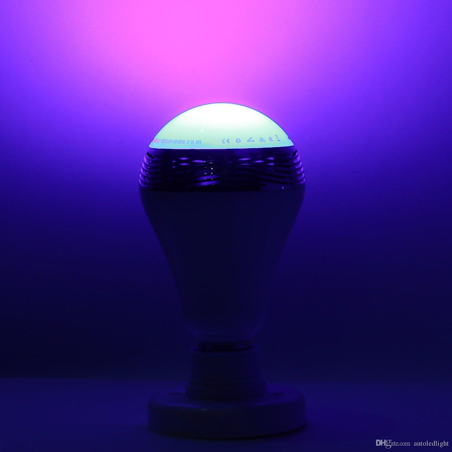 Bluetooth Smart LED Bulb Music audio Speaker 6W White rgb Lighting Lamp E27 Bulb wireless control Works with Phone