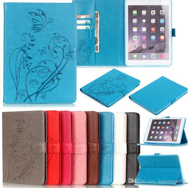 Butterflies Print Embossing Magnetic Folio Stand Leather Case Flip Smart Cover w/ Wallet Cards Holder for iPad & Samsung Tab T280 T580 T715