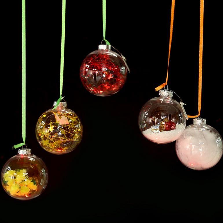Transparent Glass Balls Christmas Tree Ornaments Pendant Decor ...