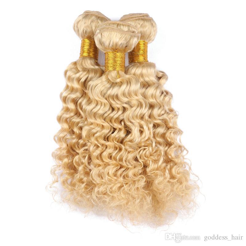 Color 613 RUBIA RUSA RUSA HUMANO PEQUEÑA PANEL DERECE ONDA PANEL DE PELO GRADO 9A Profundo Curly Hair Extensiones de trama 10-30 pulgadas Envío gratis
