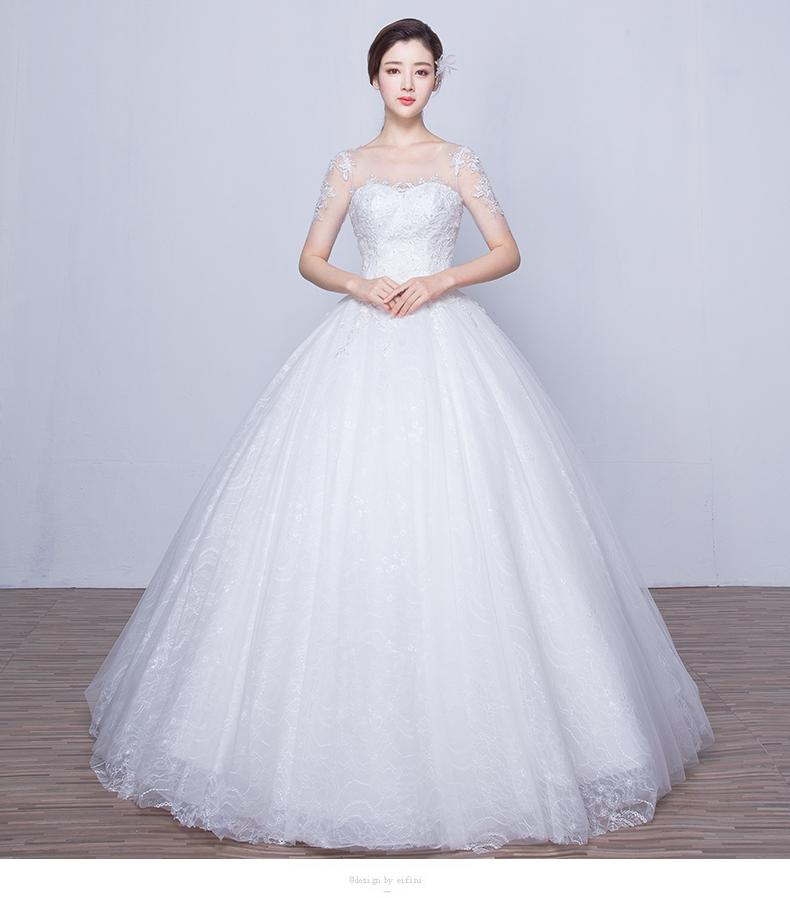 Sexy Wedding Dress Sweetheart Short Sleeve Organza Embroidered