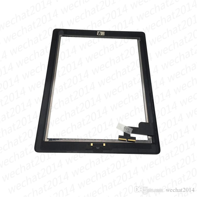 Touch Screen Glass Panel with Digitizer Buttons Adhesive for iPad 2 3 4 Black and White