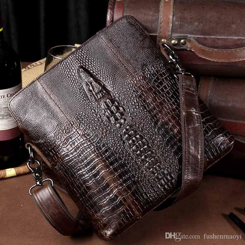 New Mens Messenger bags First Layer Cowhide Genuine Leather Bags Alligator Pattern Business Casual Cross Body shoulder bag