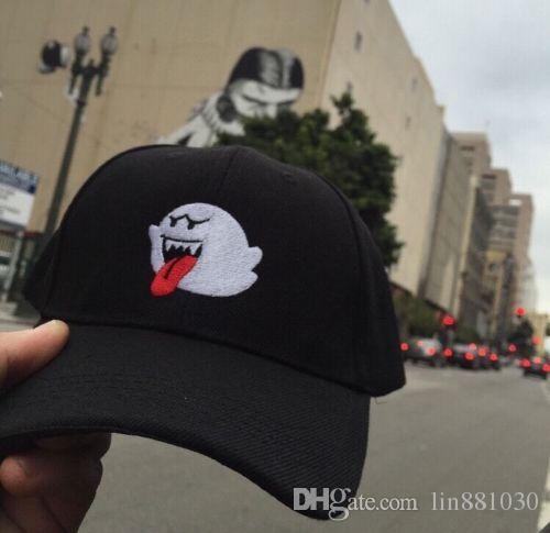 2017 NEW Black Denim Distressed Boo Mario Ghost Dad Cap Hat Hip Hop  Baseball Hats For Men Women Snapback Cap Accept Drop Shipping Wholesale Ny  Caps Ball Cap ... dc72b16f4aa