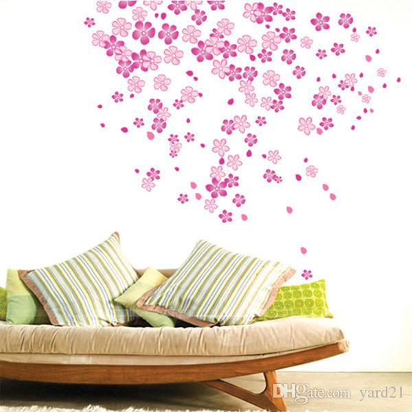 Pink Flower Rain DIY Removable Wall Sticker Decasl for Girls Bedroom Wedding Party Nursery Classroom