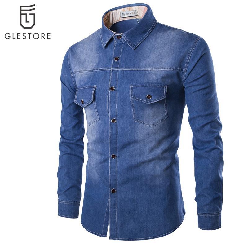 Compre Atacado Men S Cool Denim Camisa GLESTORE Plus Size Roupas De Marca  Cowboy Azul Camisa Dos Homens 100% Algodão De Manga Comprida Camisa Social  ... 6e69d57b09