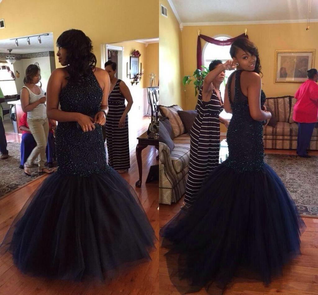 2020 Long Section African Prom Mermaid Gauze Evening Dress Sleeveless Dresses Little Neck Organza Halter Zipper Mopping the Floor Dress