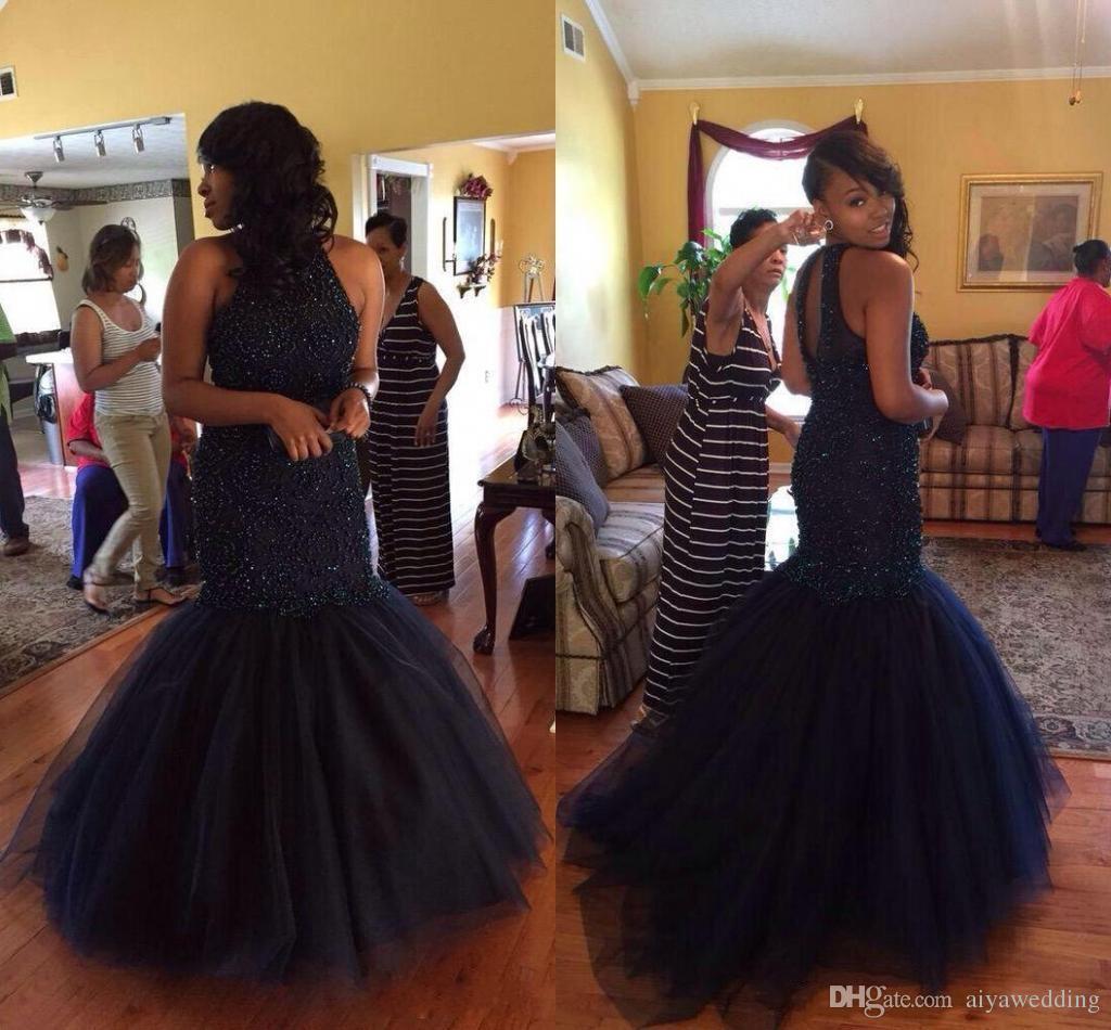 2020 senza maniche Abiti lunghi sezione africana di promenade della sirena del vestito da sera di garza Little Neck Organza Halter Zipper lavando il pavimento del vestito