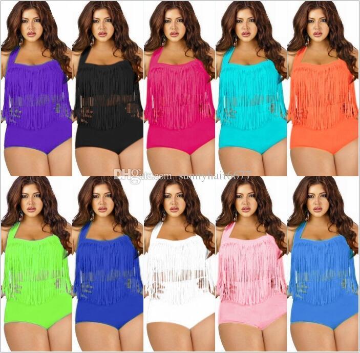 2018 Plus Size Swimwear For Women Fringe Tassels Bikini High Waist Swimsuit Sexy Women Bathing Suit Padded Boho Swimsuit Monokini 851