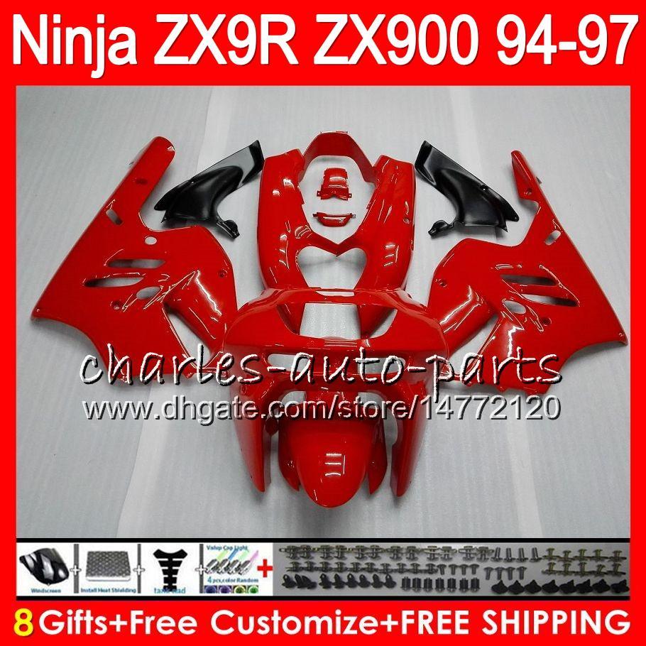 8Presentes 23Cores Para KAWASAKI NINJA ZX 9R ZX9R 94 95 96 97 900CC 49HM11 ZX 9R ZX900 ZX900C ZX-9R 1994 1995 1996 1997 Kit de carenagem Vermelho brilhante