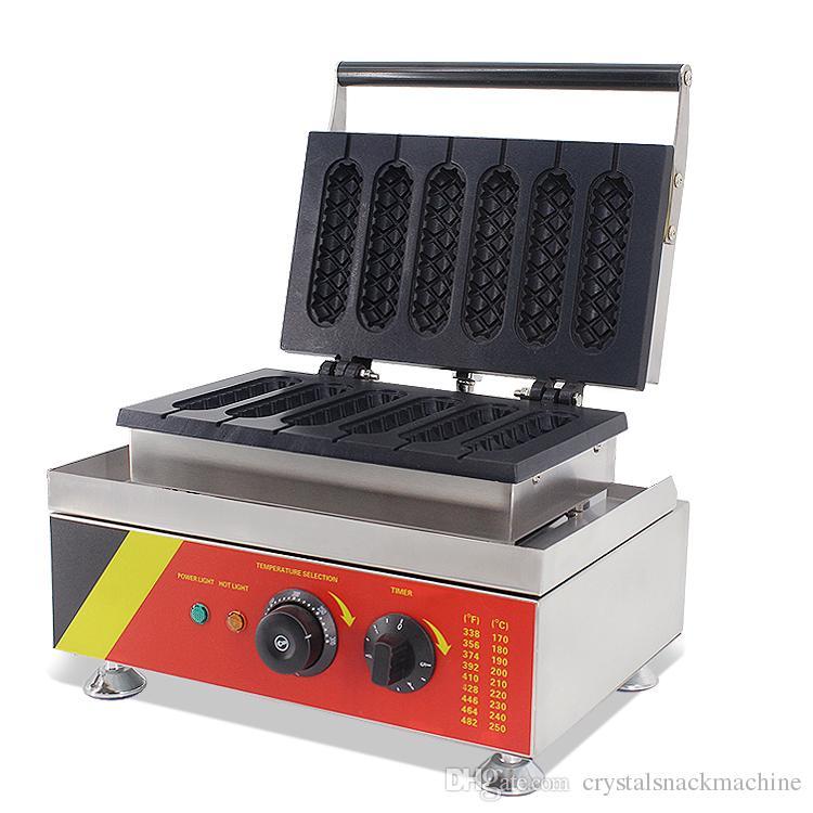 220V 110V Hot Dog Hot Waffle Maker Commercial 6 unids Crispy Hot Dog Dog Waffle Máquina Maker Máquina Muffin Waffle Maker