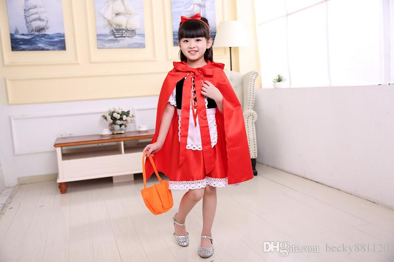Wholesale Cute Little Red Riding Hood Costume Girl Kids Halloween